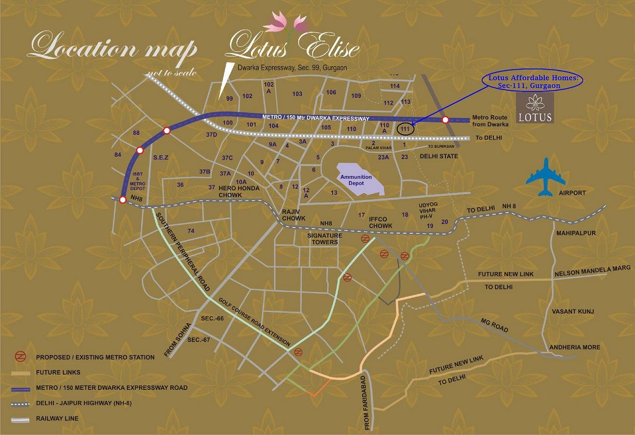Lotus Homz Sector 111 Gurgaon Location Map