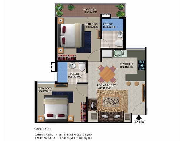 type-1-1bhk-56161floor-plan-of-global-heights-sector-33-s0hna-affordable-housing
