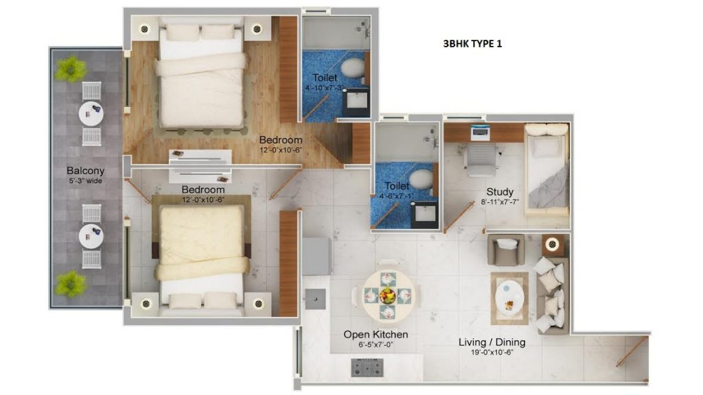 Osb Affordable Housing 3 bhk Type-1