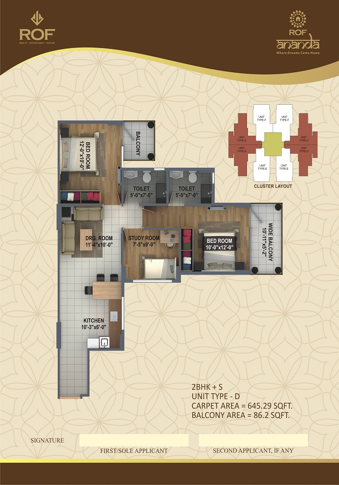 Rof Affordable Housing Sector 95 Gurgaon floor plan 3 bhk