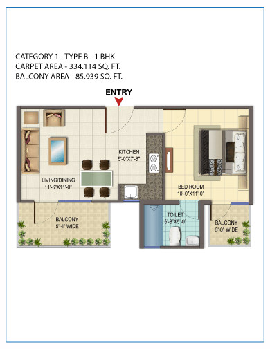 1 BHK Type 2 Orchard Avenue