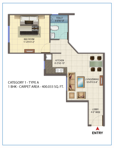 1 BHK type 1 Orchard Avenue