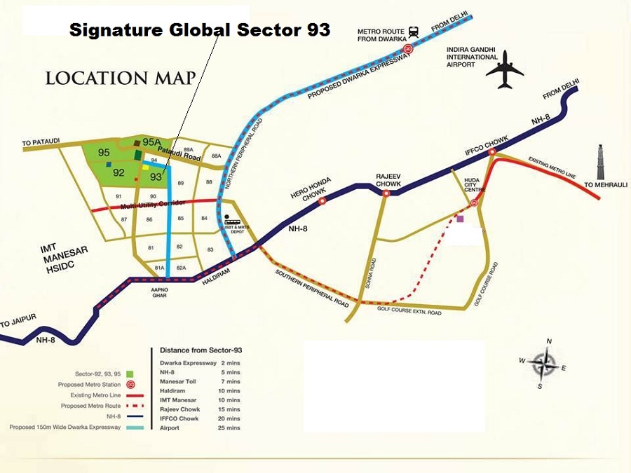 location map Signature Global Orchard Avenue Gurgaon