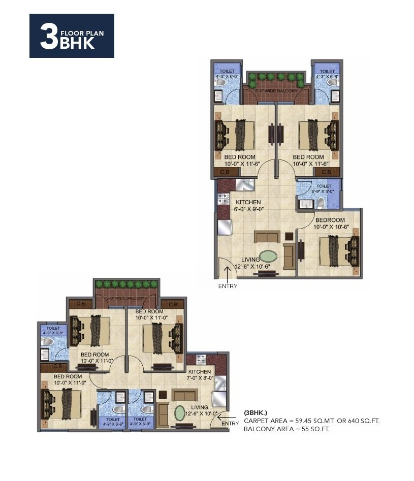 Affordable Housing Gurgaon Sector 92 3 bhk Floor Plan