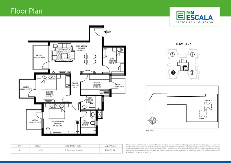 M3M Escala floor plan 1600 sq