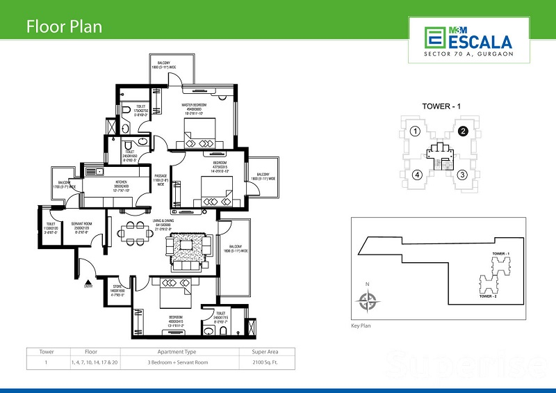 M3M Escala floor plan 1600 sq ft