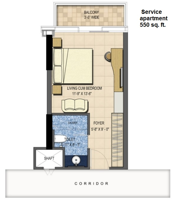 M3M-Urbana Floor plan of 1BHK 550