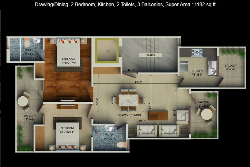 2 BHK Floor Plan Supertech Aadri