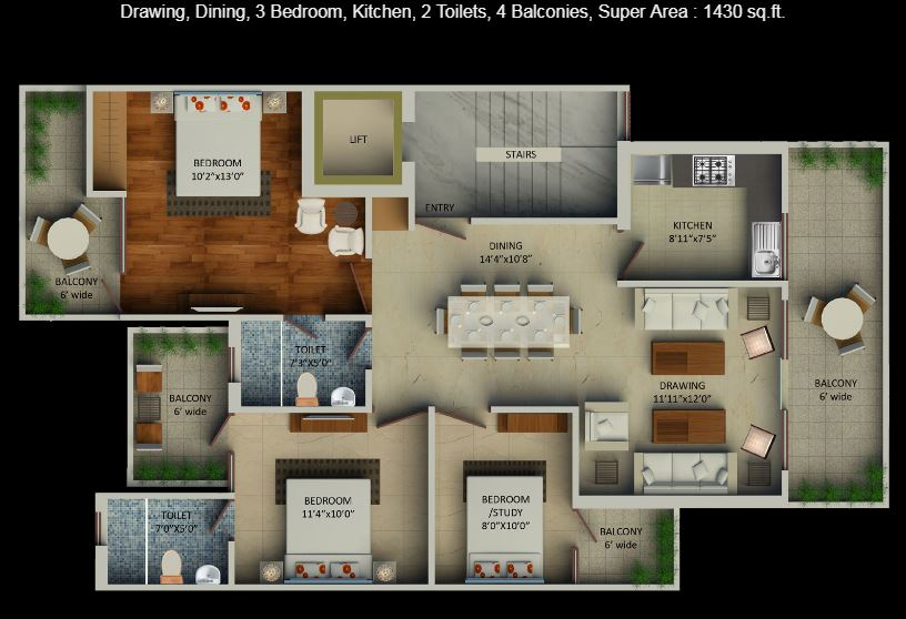 3 BHK floor plan Aadri
