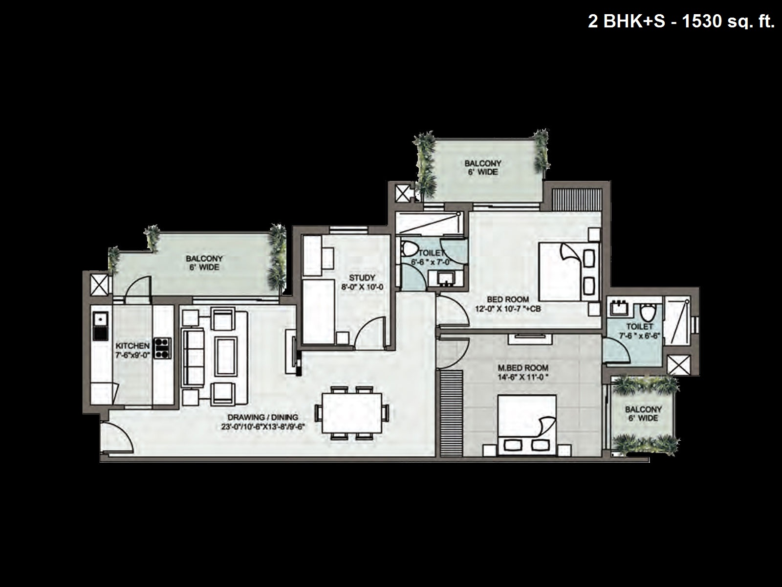 Supertech Araville floor plan 2bhk+S 1530