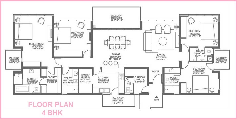 Floor Plan of Grand Arch 4 BHK