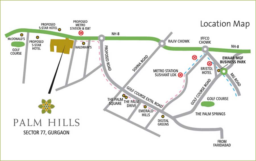 Emaar Palm Hills Sec 77 location map
