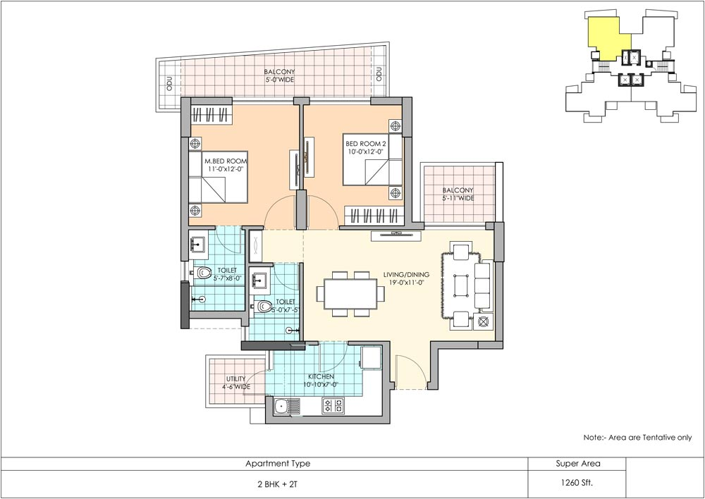 2 BhK Floor PLan Marina