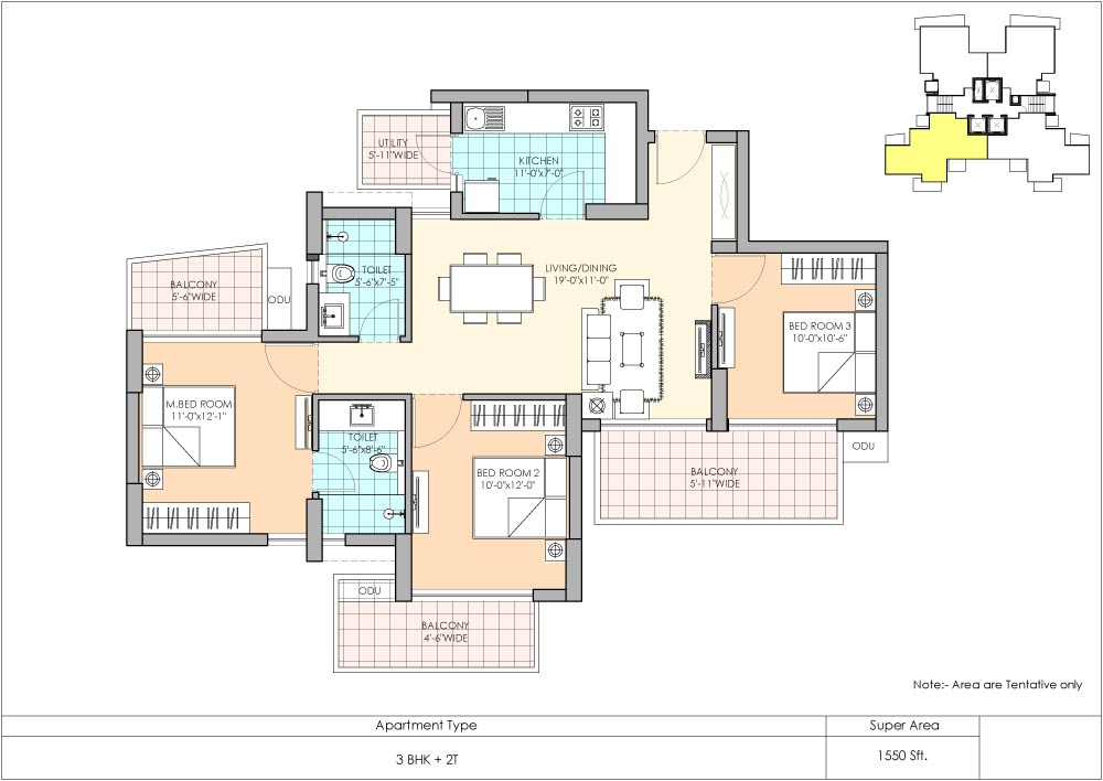 3 BHK Floor Plan Marina