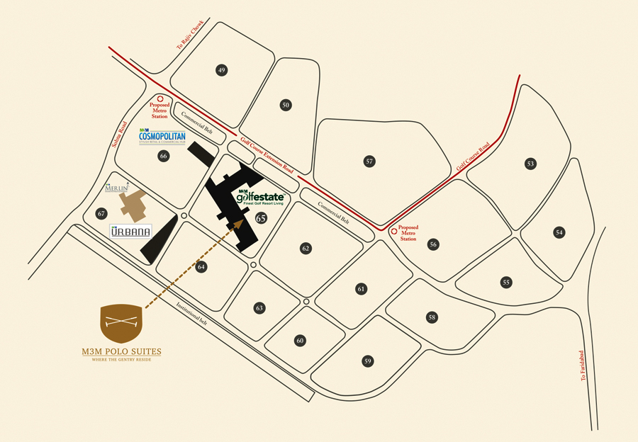m3m polo suites location map