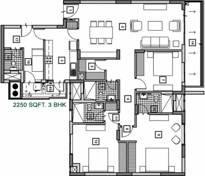 vatika 3bhk seven elements floor plan gurgaon 89a