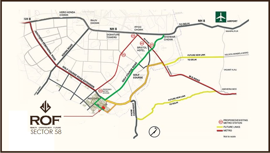 Rof Affordable Housing Gurgaon Sector 58 Location Map