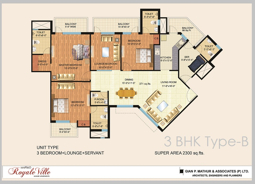 3 BHK Mapsko Royale Ville Floor Plan