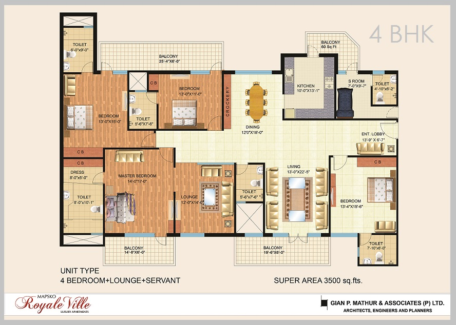 4 BHK Mapsko Royale Ville Floor Plan