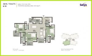 3 BHK + Servant Floor Plan