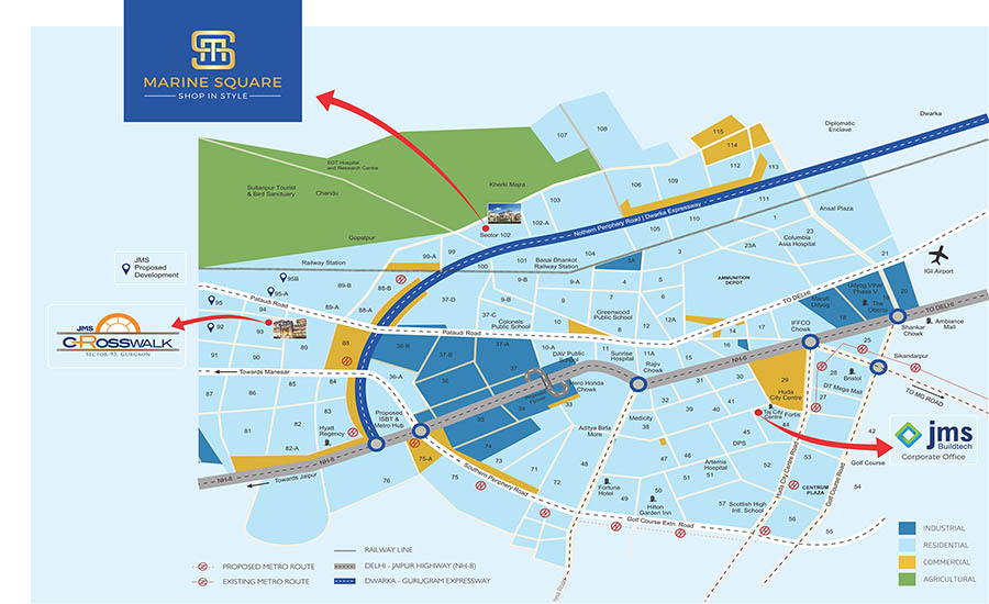 JMS Buildtech Marine Square Gurgaon Location Map