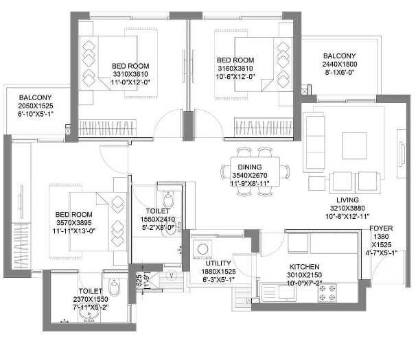 hero homes gurgaon 3 bhk t1 floor plan