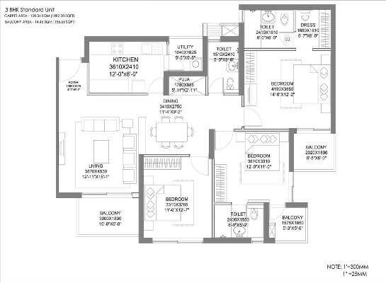 hero homes gurgaon 3 bhk floor plan