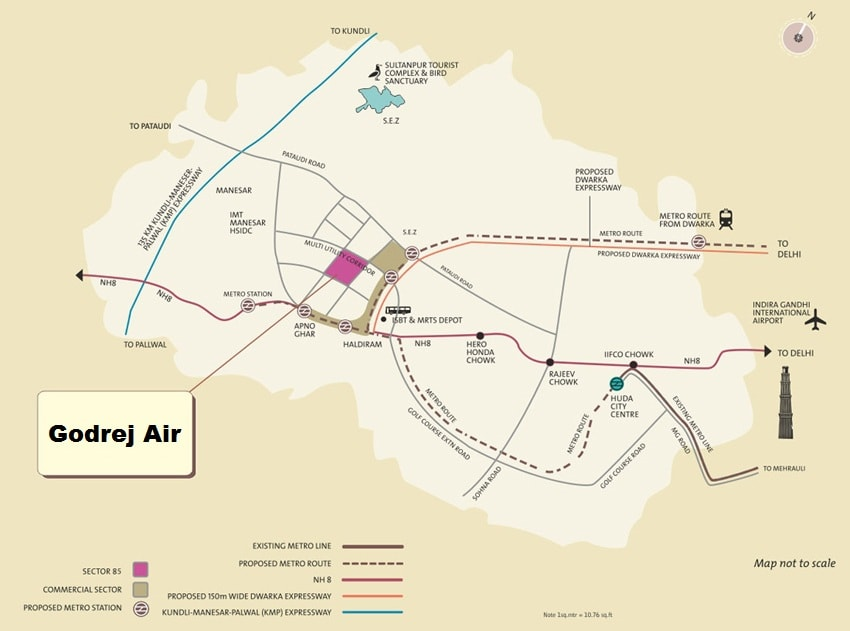 godrej air sector 85 gurgaon location map
