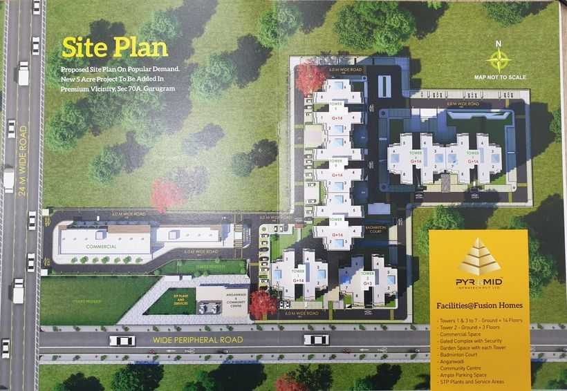 site map pyramid fusion homes sector 70a
