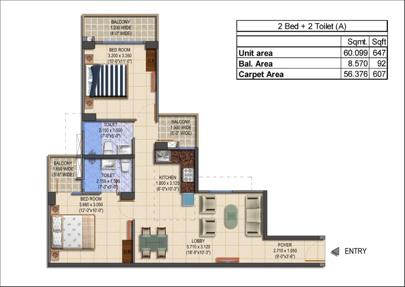 MRG World The Balcony 2 bhk type a