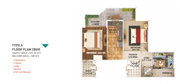 type a 2 bhk
