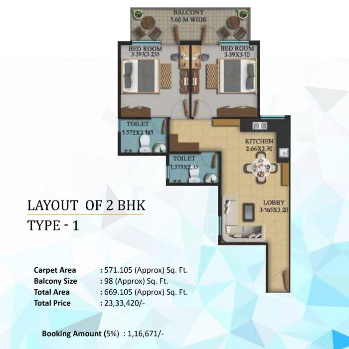 OSB The Venetian Floor Plan 2bhk 1st type