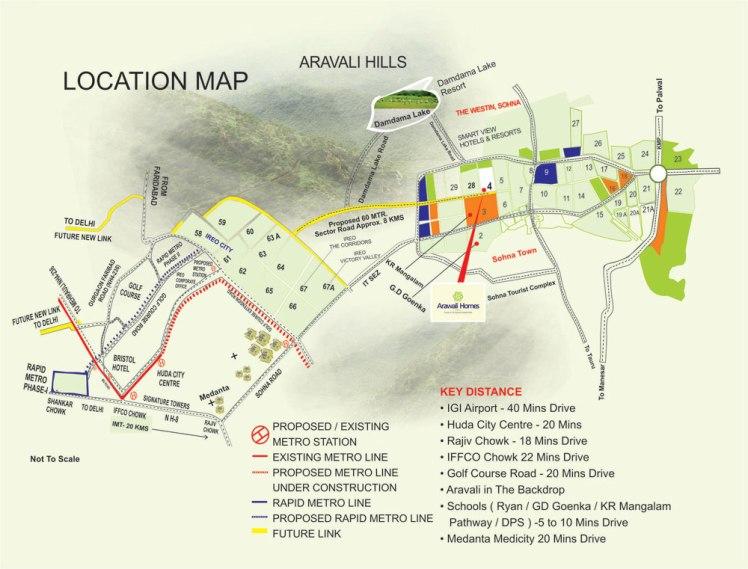 Gls Arawali Homes Location Map
