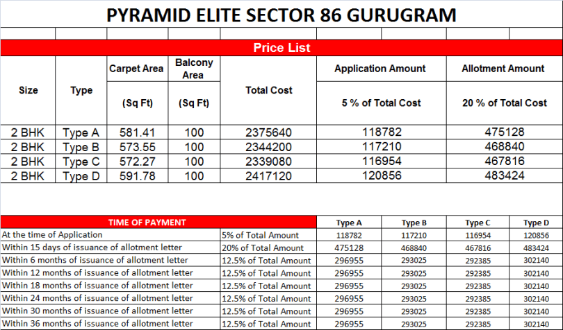 Pyramid Elite Price and payment plan