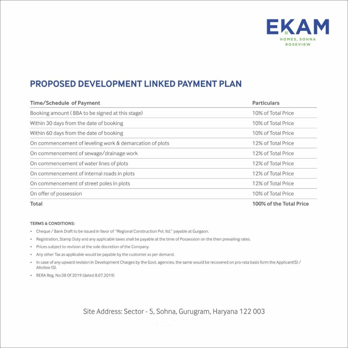 Ekam Price List