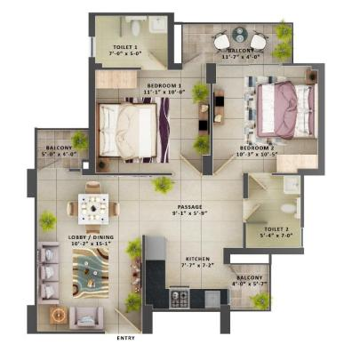 Type F - 2BHK The Meridian