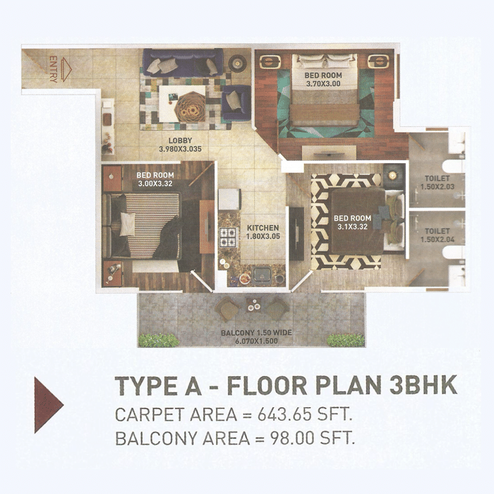 Pyramid 3bhk Type A Layout