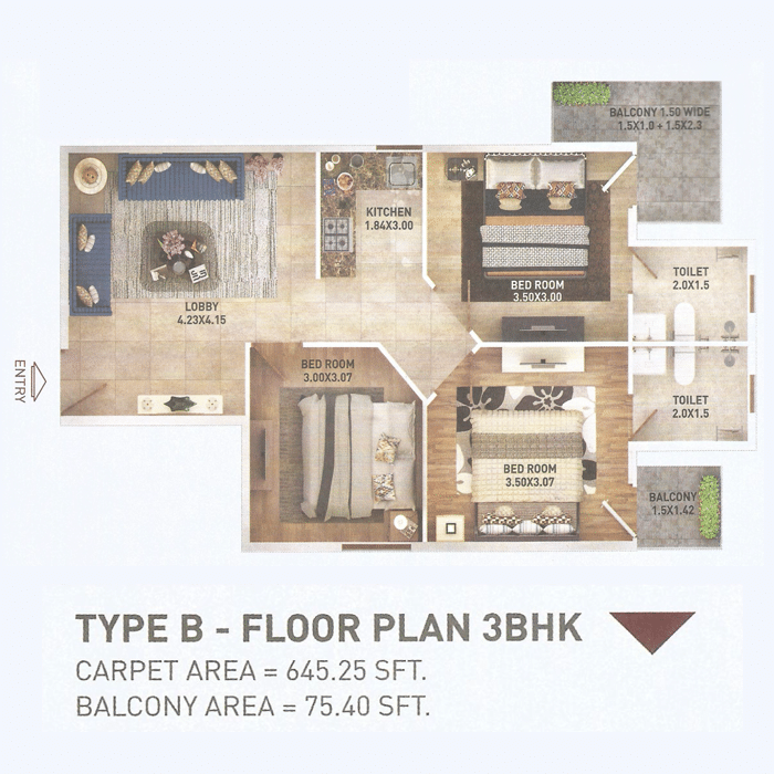 Pyramid 3bhk Type 3 Layout