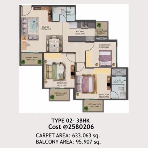 3bhk Type-02 layout of Signature global golf green.