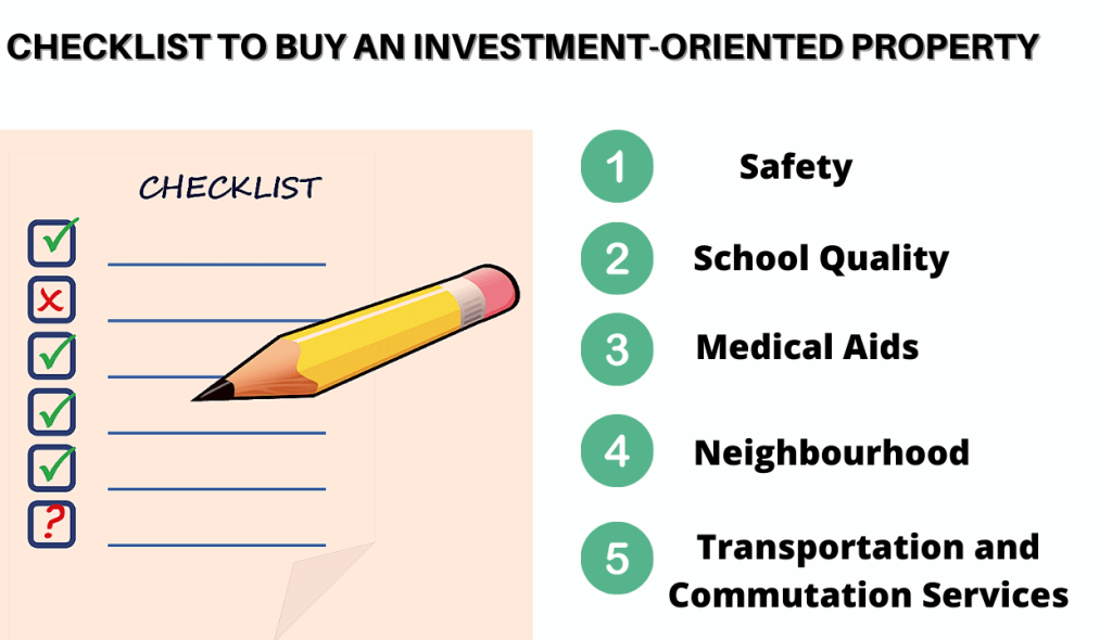checklist to buy an investment oriented property