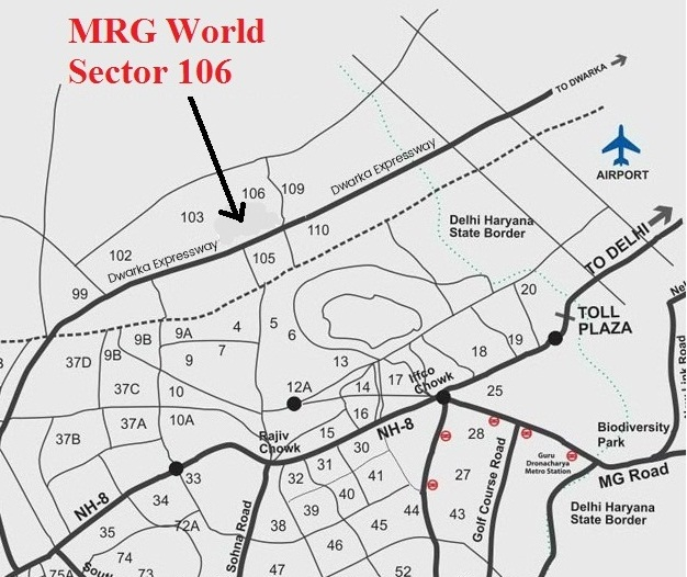 location map of mrg world sector 106