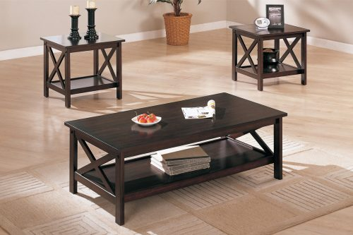 3 Piece Coffee Table Set in Dark Brown