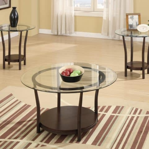 3 PCS Coffee Table Set With Glass