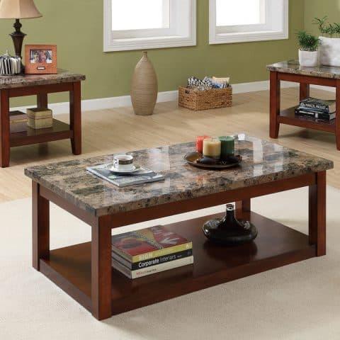 3 Piece Coffee Table Set Dark Brown