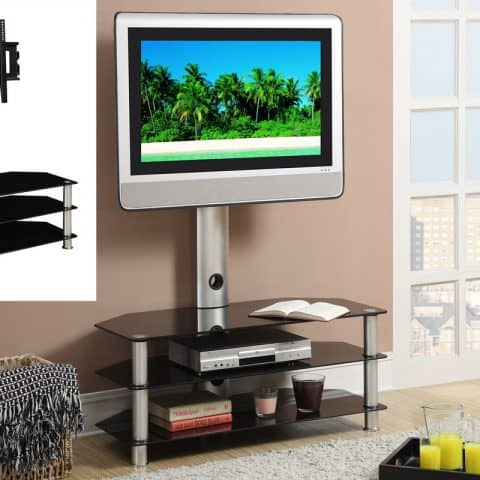 Tv Stand in Silver & Black