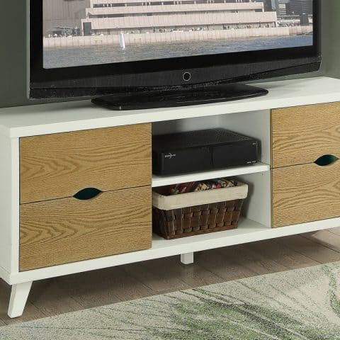TV Stand in White & Oak