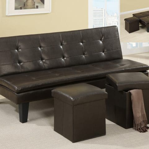 Futon Faux Leather With Pair Ottomans