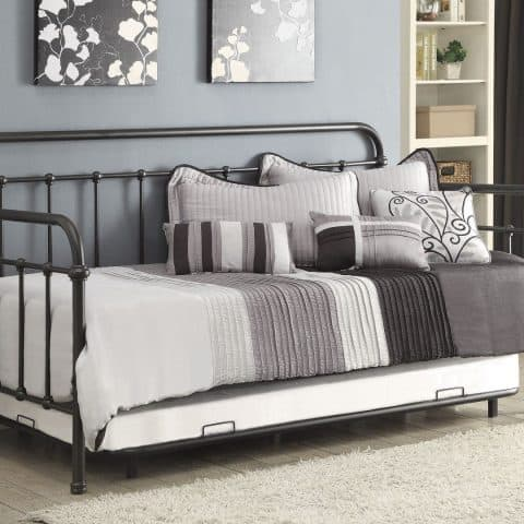 Daybed Daybeds Trundle Bedroom metal black