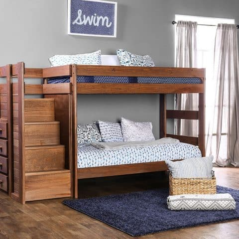 Mahogany Twin Over Twin Bunk Bed With Stairs
