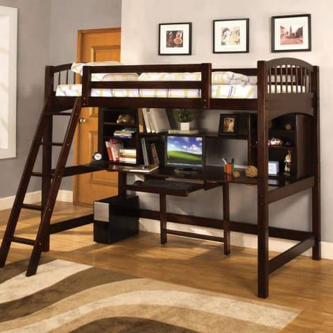 Twin Loft Bunk Bed With Desk In Dark Walnut